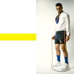 Shirt and shorts vintage Archivi Mazzini,  scarf and socks vintage Archivio Guerrini, glasses Tom Ford Eyewear by Marcolin (preview f/w 2016-17 collection), shoes vintage Archivio Lama64